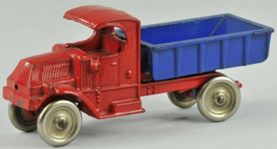 champion hardware co cast iron toy mack dump truck red blue