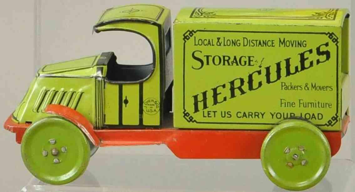 chein co 102 Hercules green blech spielzeug lastwagen hercules lieferwagen #102, aus blech lithografiert in grün u