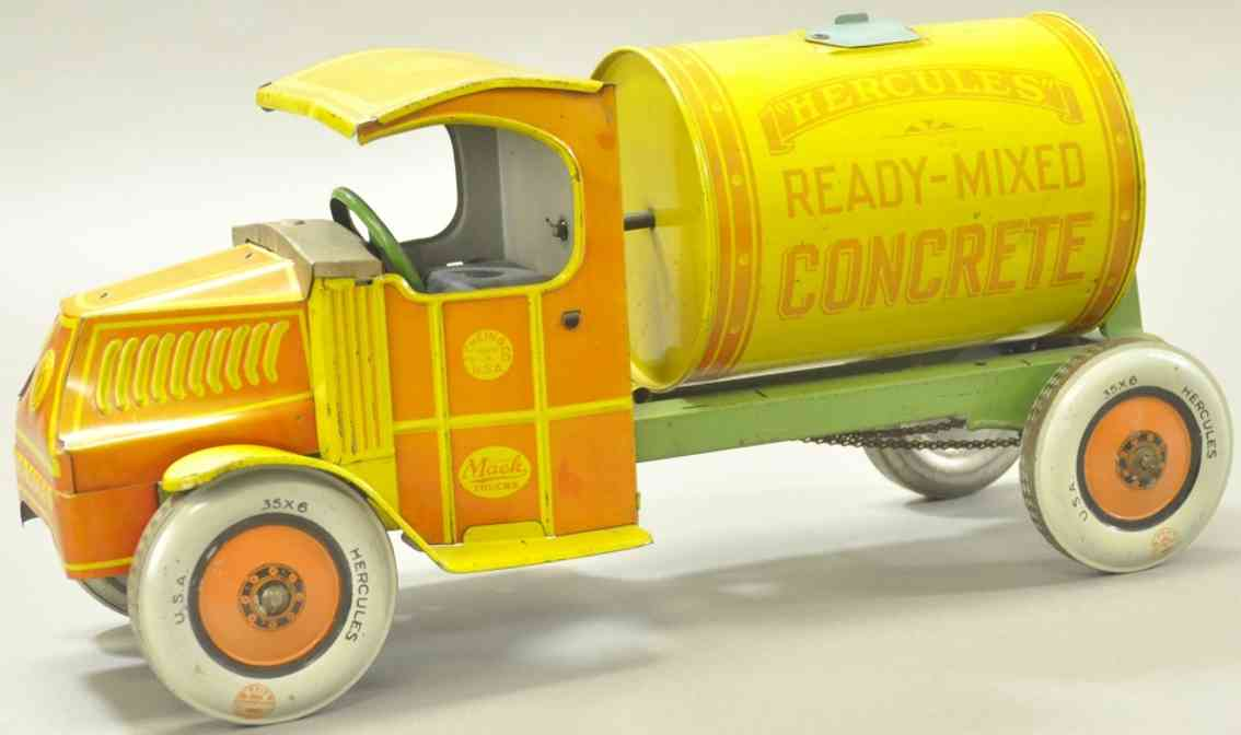 chein co 1150 tin toy mack hercules ready mix concrete trucl red yellow