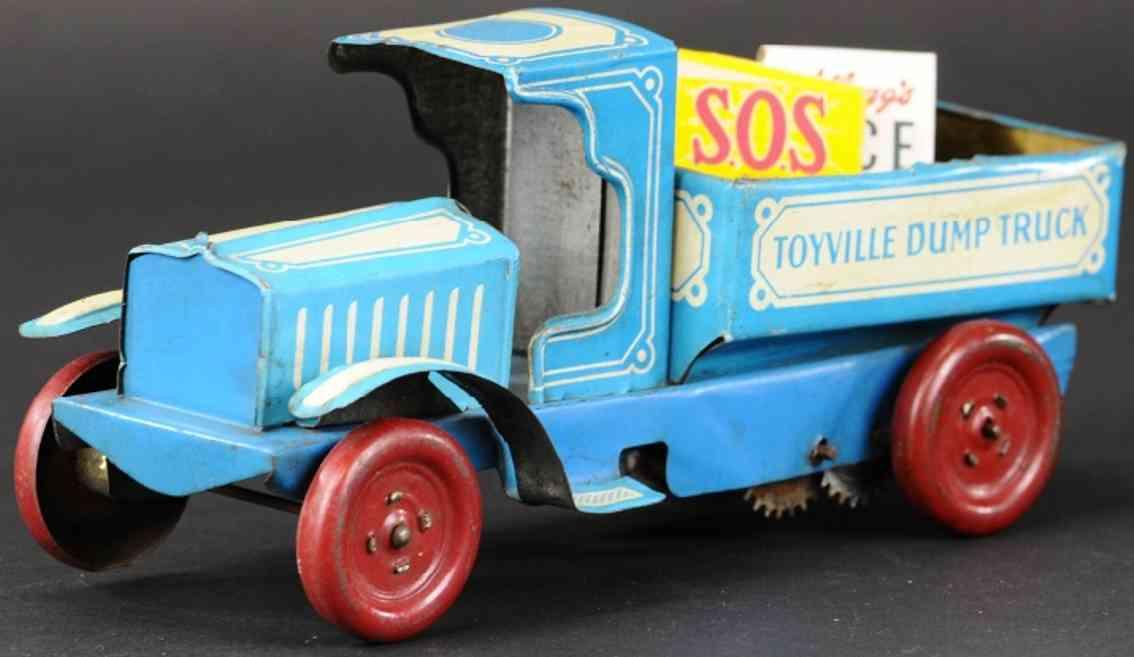 chein co 215 blech spielzeug kipplastwagen blau toyville