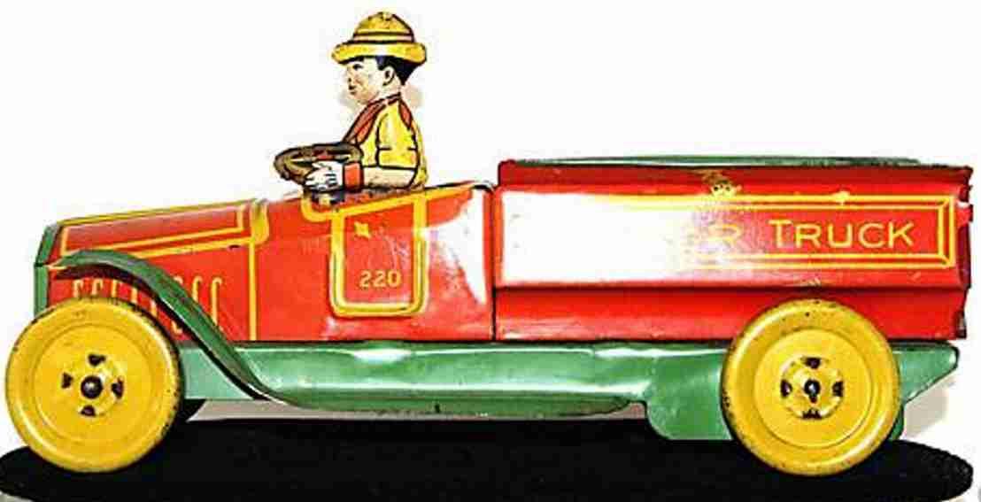 chein co 220 blech spielzeug lastwagen junior lastwagen, lithografiert, stroßspielzeug mit fahrer u