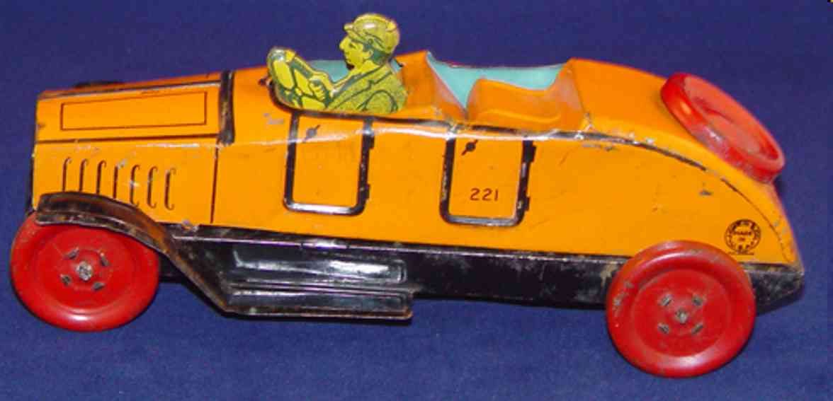 chein co 221 oldtimer roadster lithografiert in orange rot und schwarz