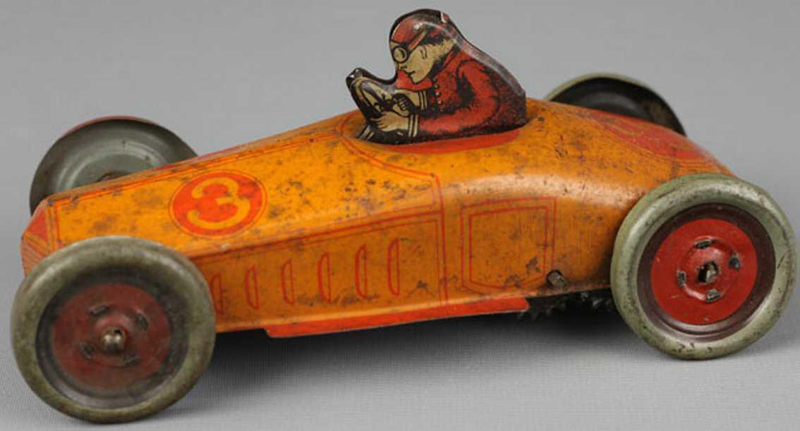 chein co 3 blech spielzeug rennauto rennwagen mit uhrwerk (fester schlüssel) und fahrer, lithogr