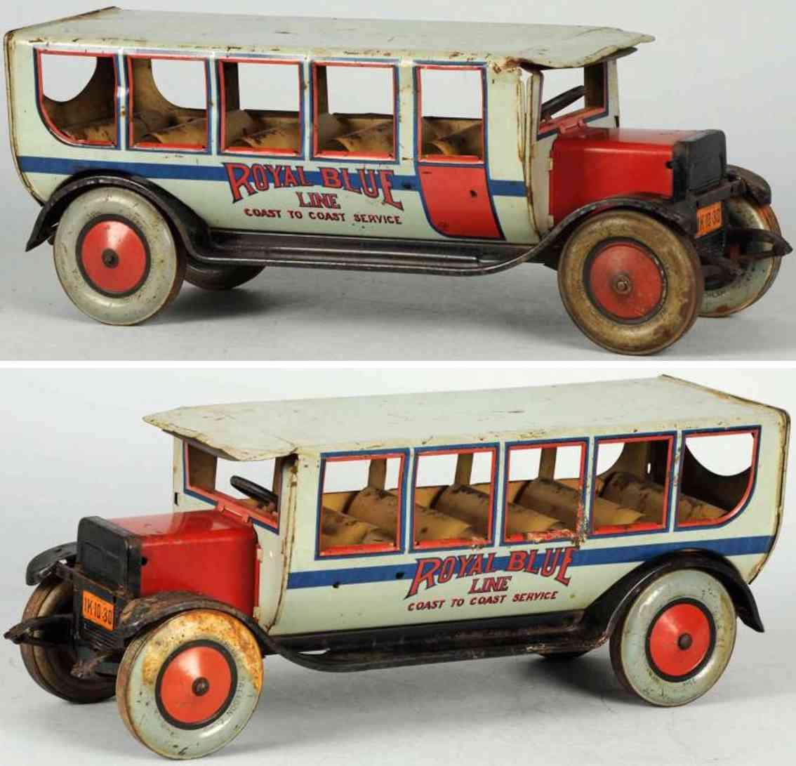 chein co 550 tin toy bus coast to coast bus royal blue line
