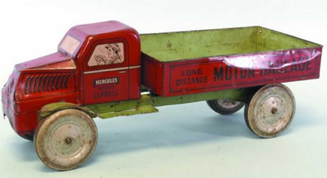 chein co blech spielzeug lastwagen hercules mack pritschenwagen in rot mit langlaufendem motor,