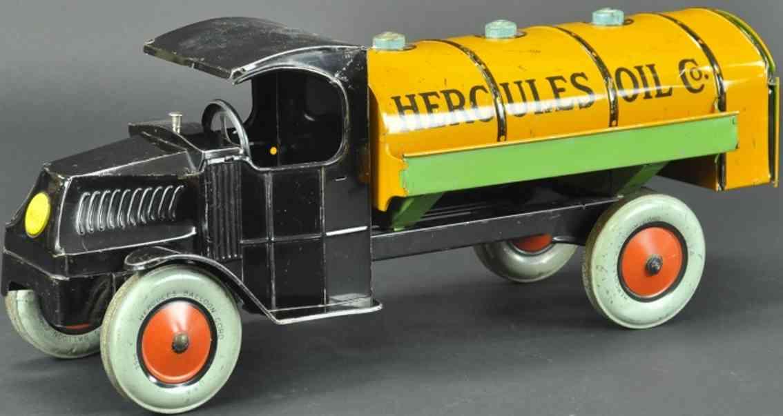 chein co Hercules Oil 19 blech spielzeug lastwagen öltanklastwagaen, mack c fahrerhaus in schwarz, orangefarben