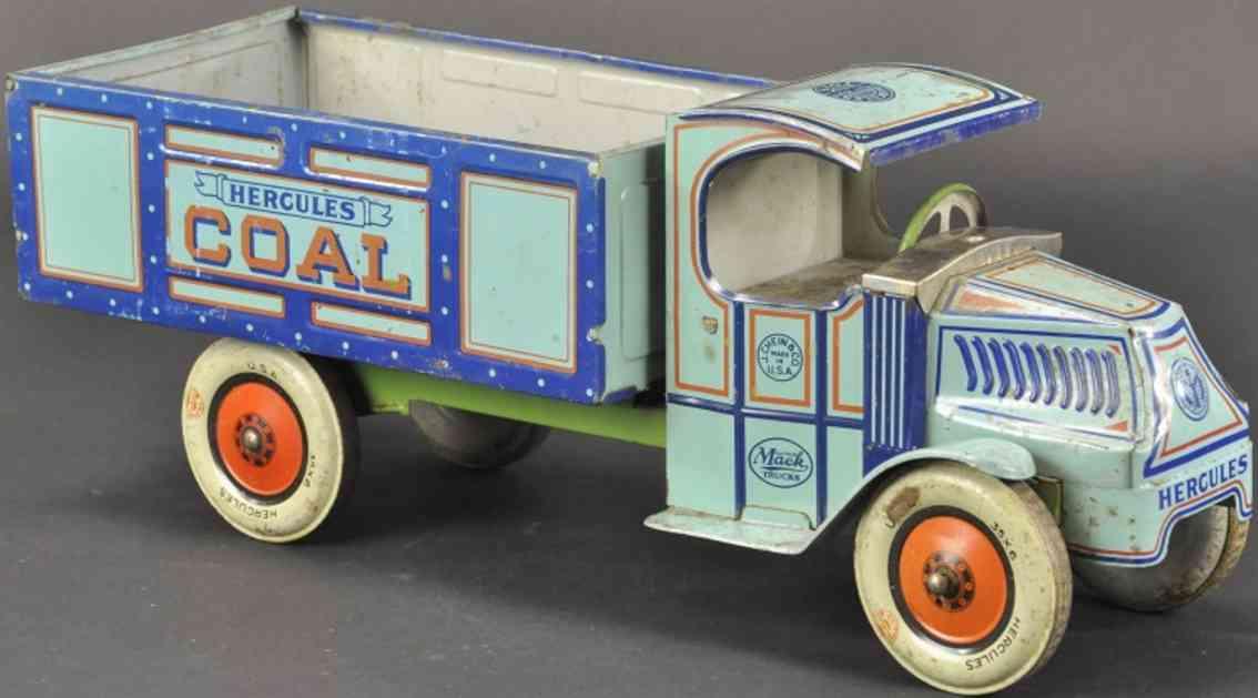 chein co blech spielzeug herkules mack kohletransportwagen blau
