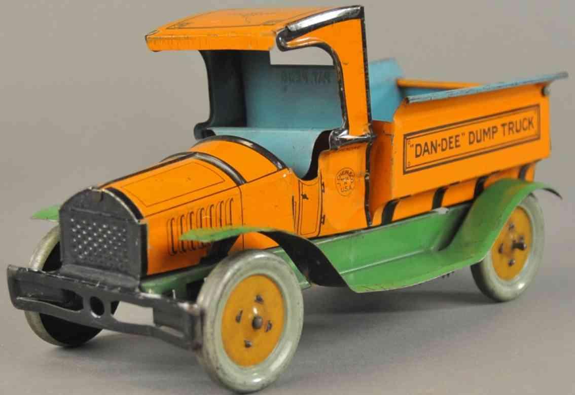 chein co blech spielzeug lastwagen dan-dee kipplastwagen orange