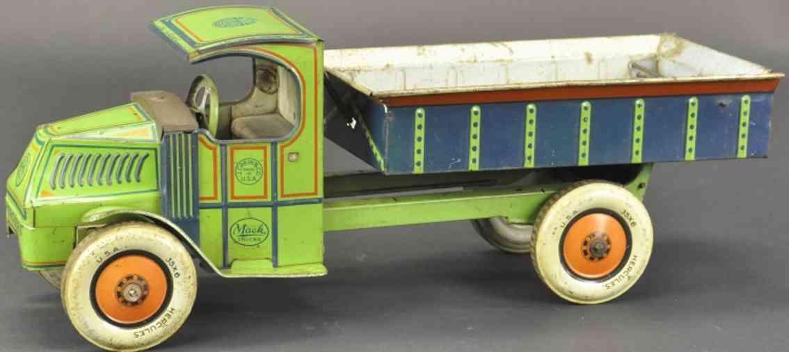 chein co blech spielzeug herkules kipplastwagen gruen blau