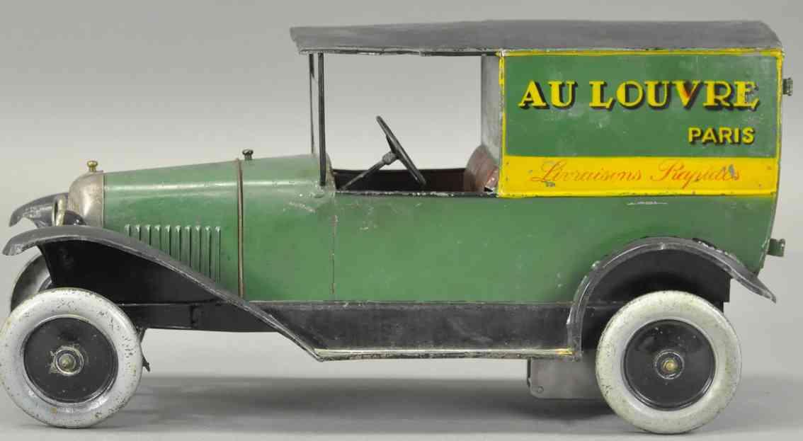 citroen blech spielzeug lieferwagen au louvre paris uhrwerk gruen