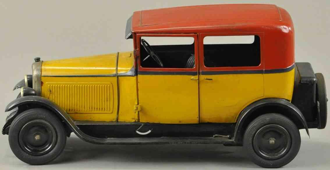 citroen blech spielzeug auto c6 limousine gelb rot schwarz uhrwerk 1513-rf5