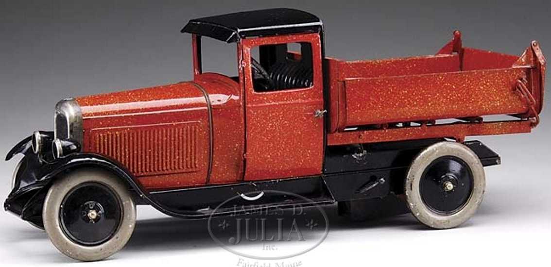 citroen tin toy orange dump truck