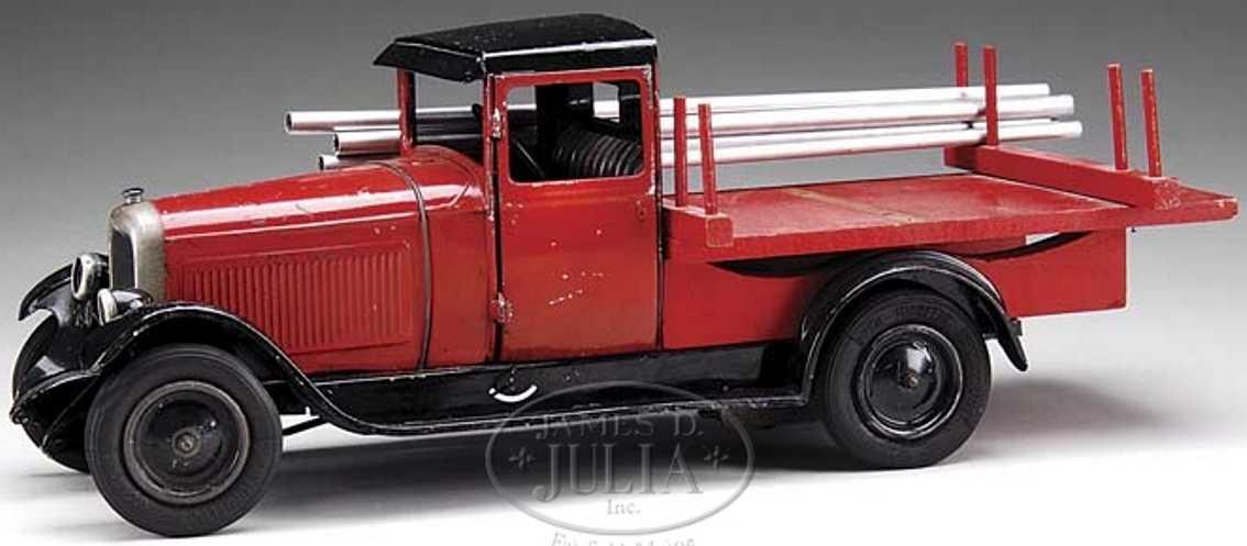 citroen blech spielzeug lastwagen  rot mit stangen