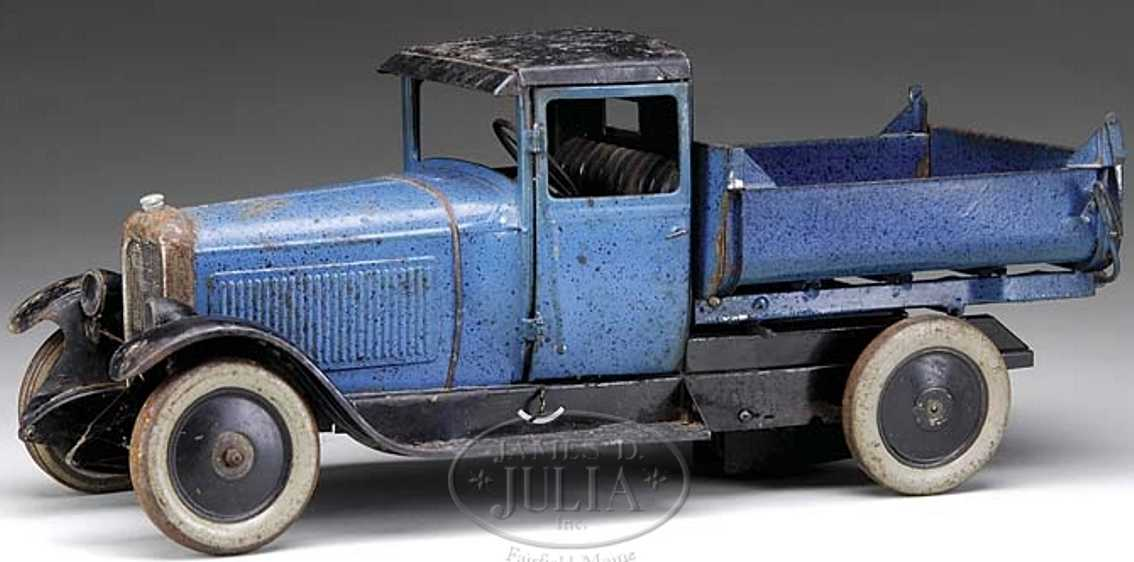 citroen blue tin toy blue dump truck