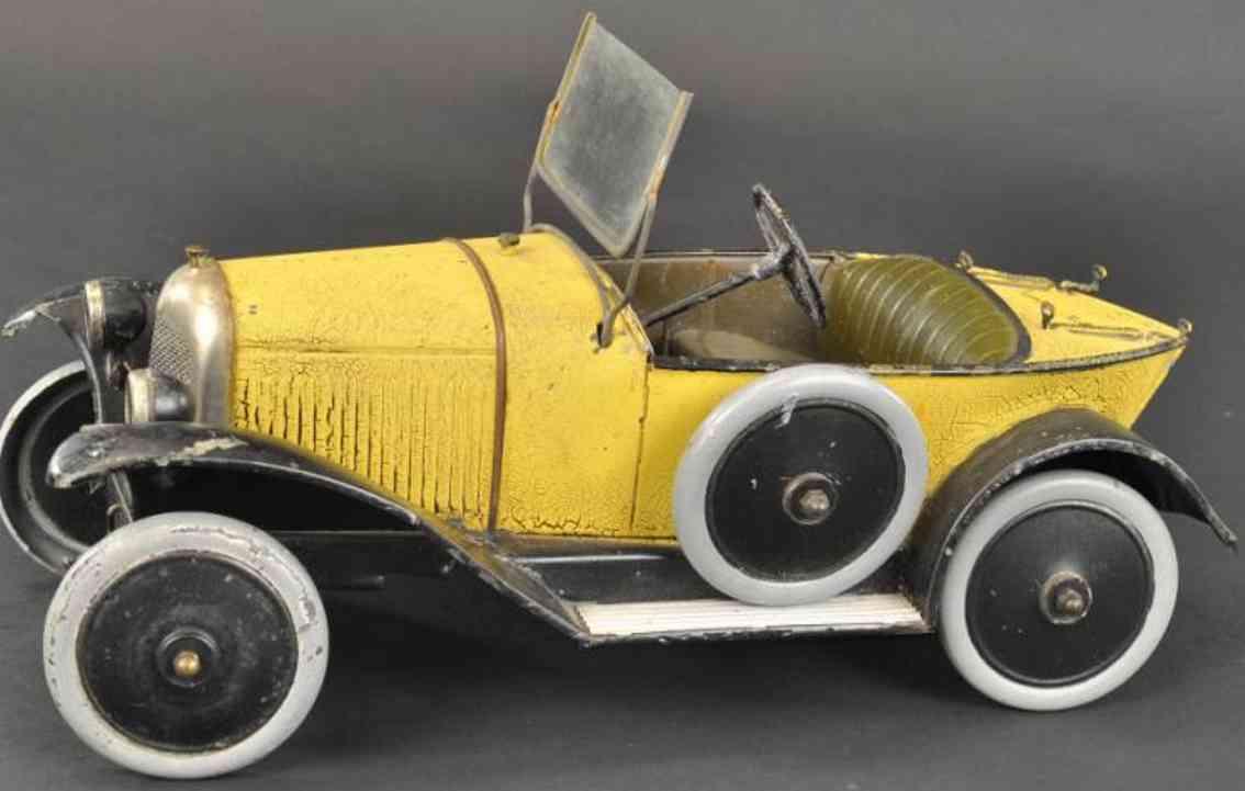 citroen blech spielzeug auto rennwagen bootsheck uhrwerk gelb