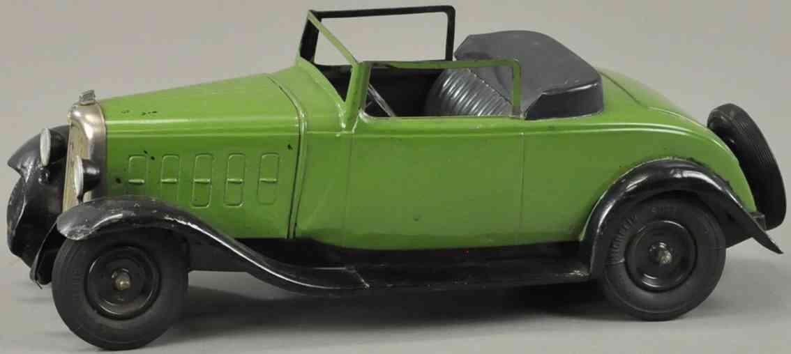 citroen weissblech spielzeug auto cabriolet gruen schwarz