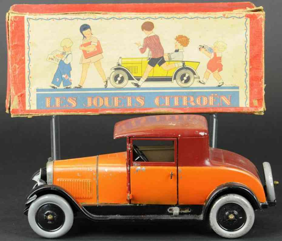 citroenblech spielzeug auto cabrio orange uhrwerk