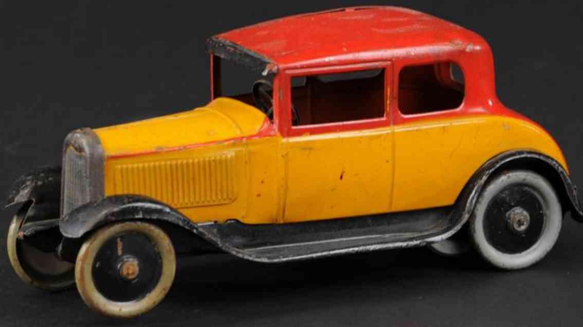 citroen tin toy car c6 victoria coupe red orange