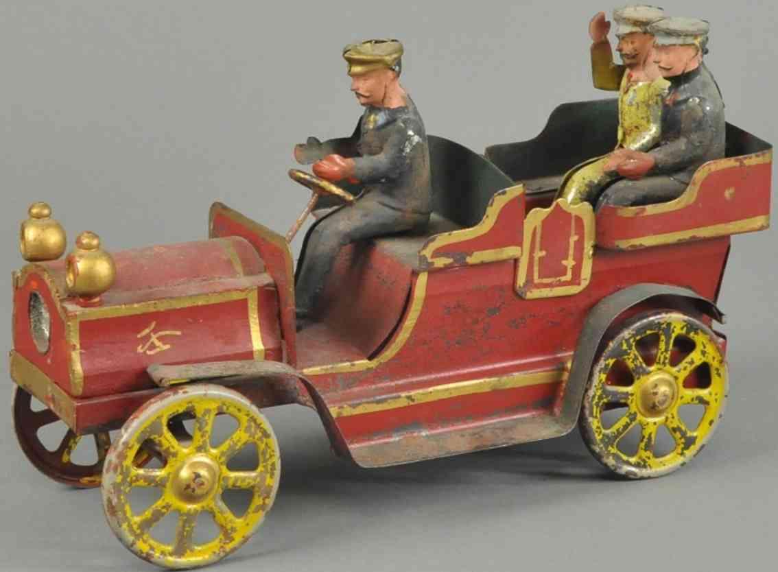 clark dp spielzeug auto oldtimer stahlblech rot drei figuren