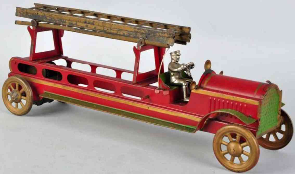 converse morton e lpressed stee toy fire engine fire ladder truck  red