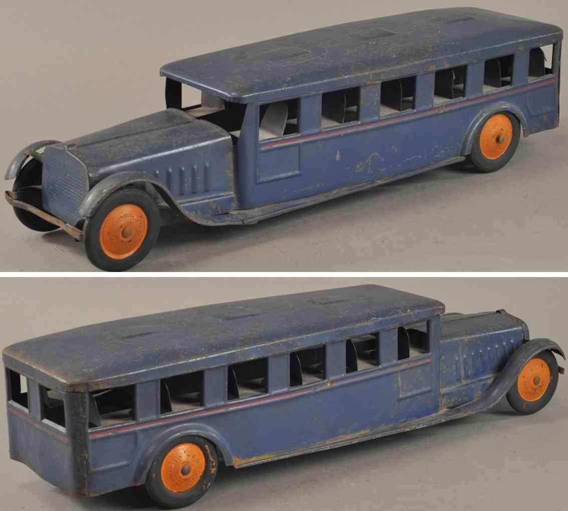 cor-cor toy company stahlblech spielzeug autobus blau