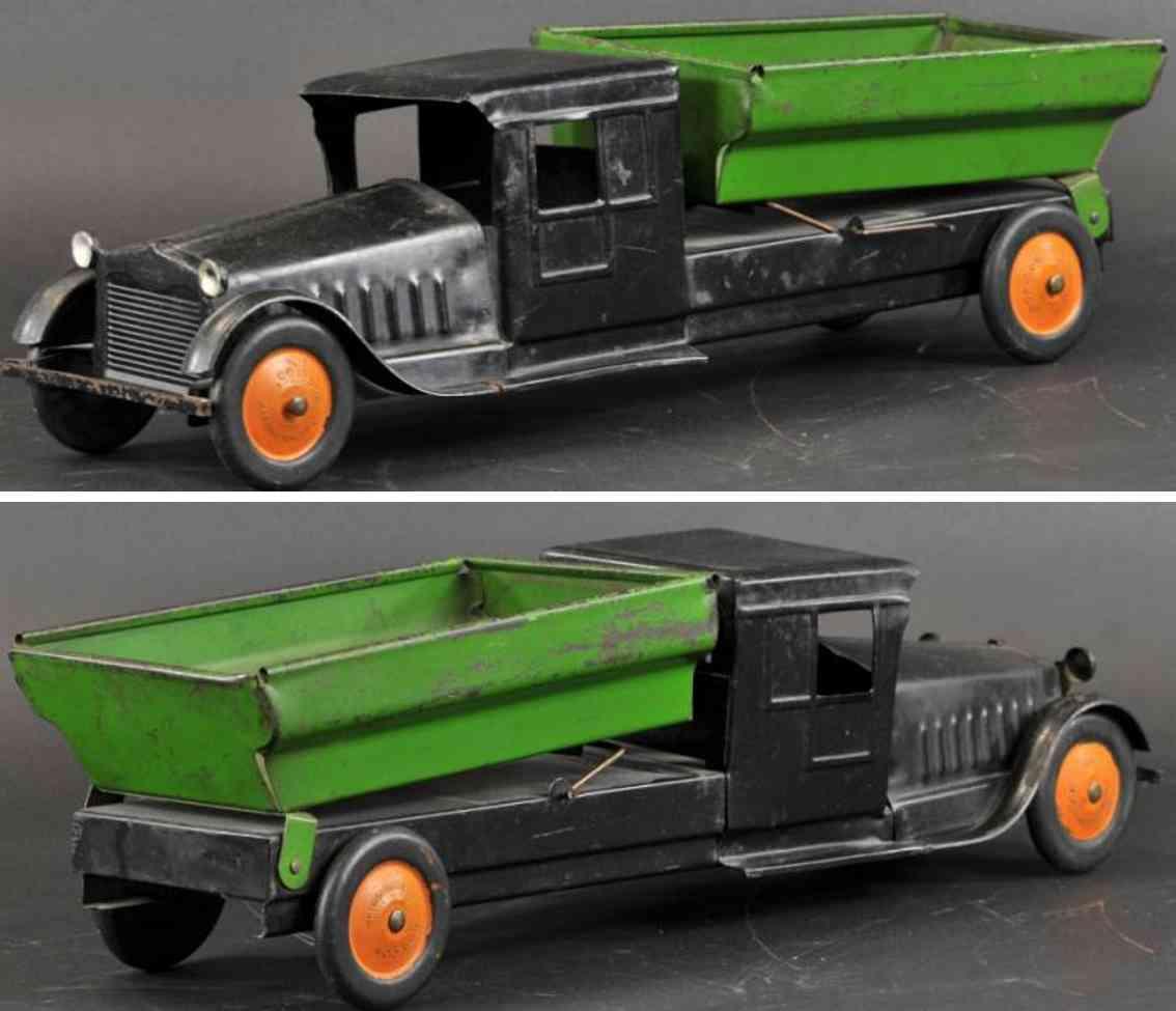 corcoran stamped steel toy dump truck black green