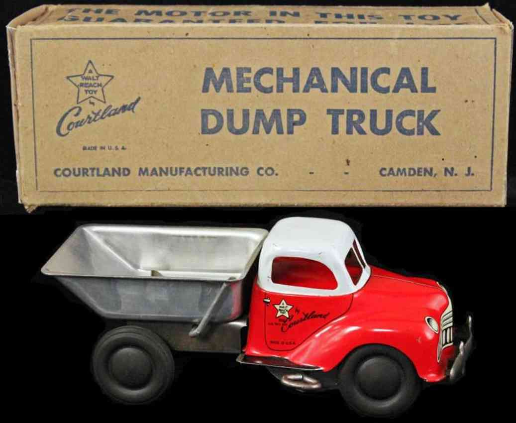 courtland 3100 tin toy mechanical dump truck red white
