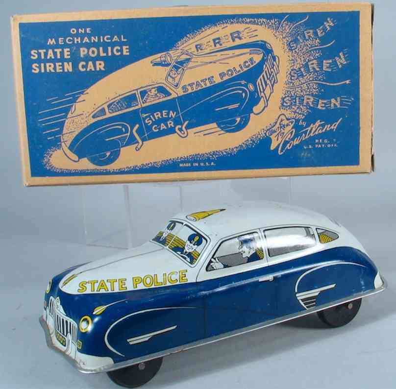 courtland 7500 tin toy car police patrol car. car is push type car