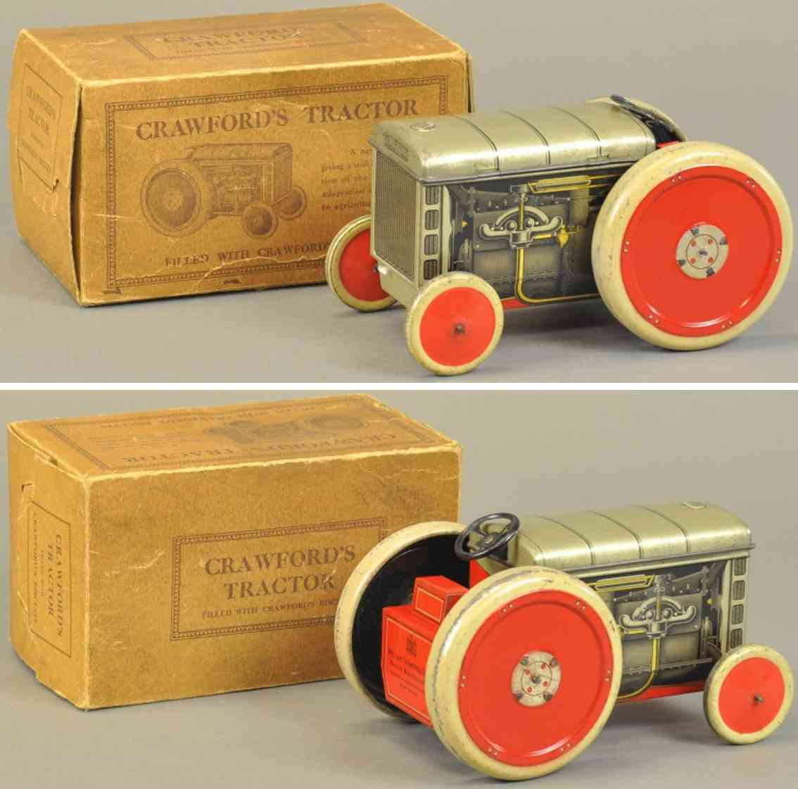 crawford william & sons tin toy tractor biscuit tin