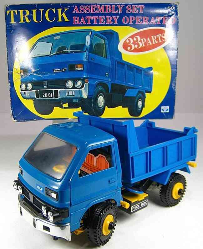 daiya 501 celluloid toy car plastic battery operated dump truck with origtinal box, very