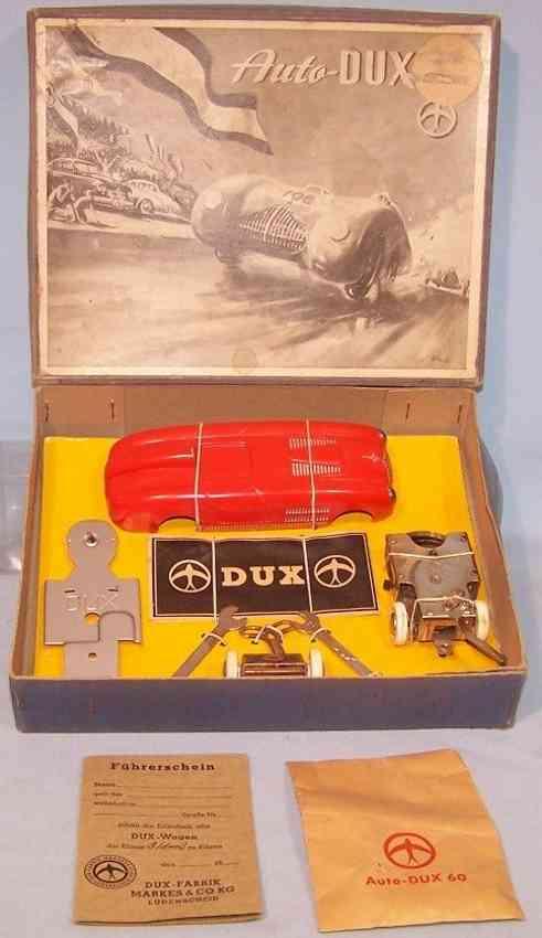 dux 60 c tin toy kit race car  veritas red silver clockwork