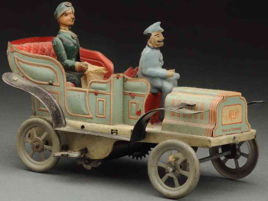 dannhorn max tin toy car wind-up automboile chaffeur woman passenger