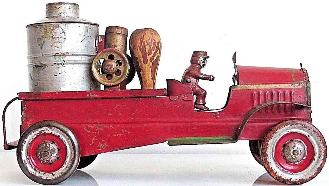 dayton toy fire pumper truck pressed steel with friction drive red gold