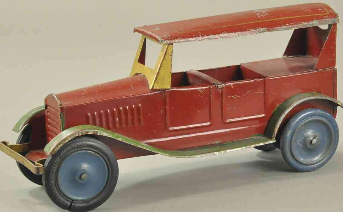 dayton blech spielzeug auto rot fahrgestell gruene trittbretter