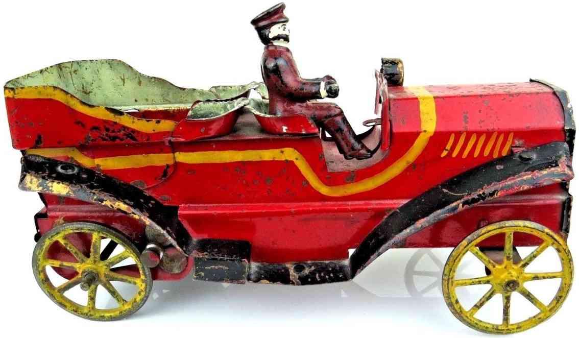 dayton stahlblech spielzeug auto tourenwagen rot fahrer