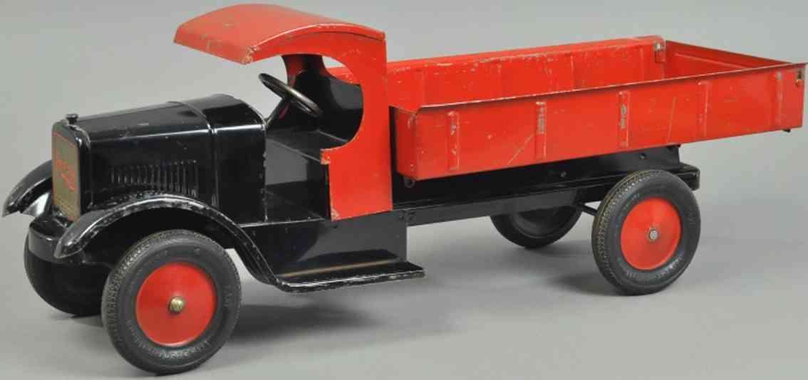 dayton stahlblech spielzeug kipplastwagen sonny schwarz rot