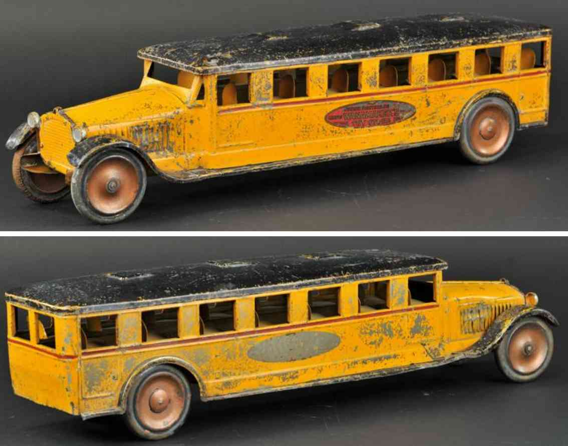dayton pressed steel toy junior sight seeing bus orange black