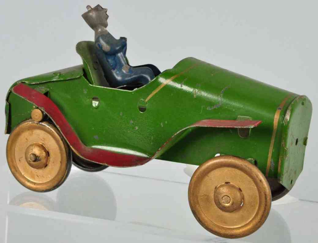 daytonpressed steel  toy race car roadster friction toy green