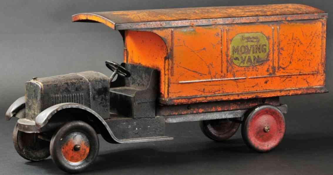 dayton friction blech spielzeug son-ny umzugswagen schwarz orange