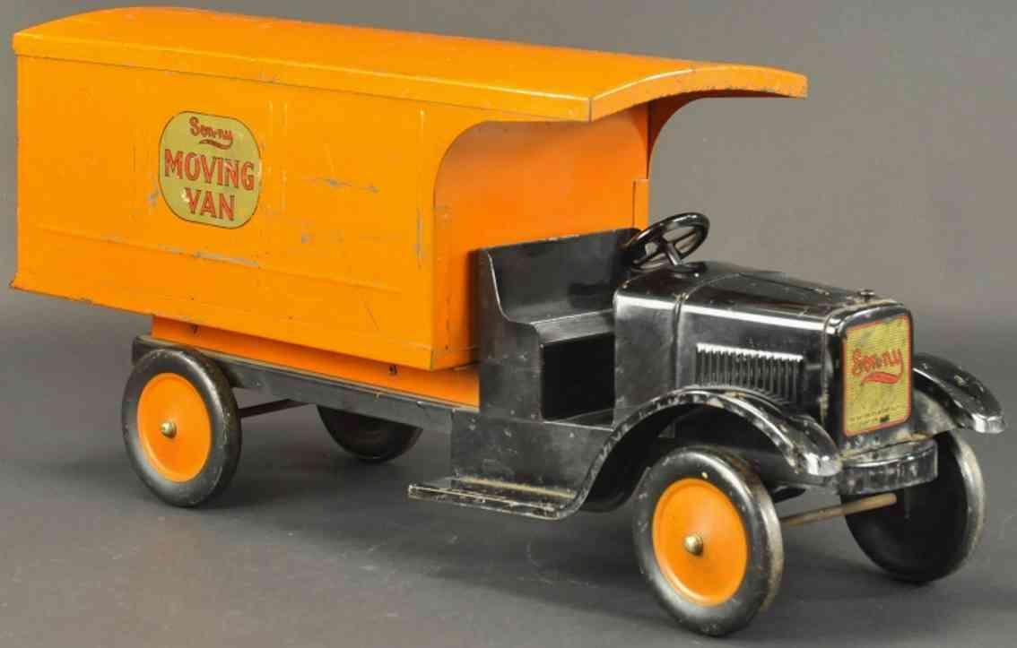 dayton friction blech spielzeug umzugswagen schwarz orange
