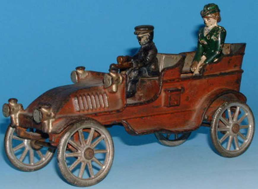 dent hardware co 604 cast iron toy touring car driver lady