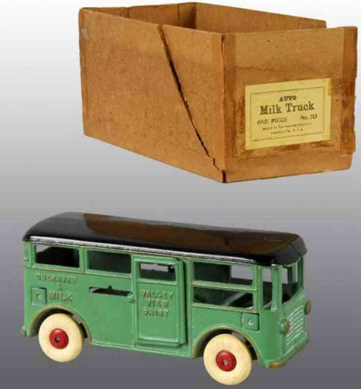 dent hardware co 713 cast iron toy milk truck driver green