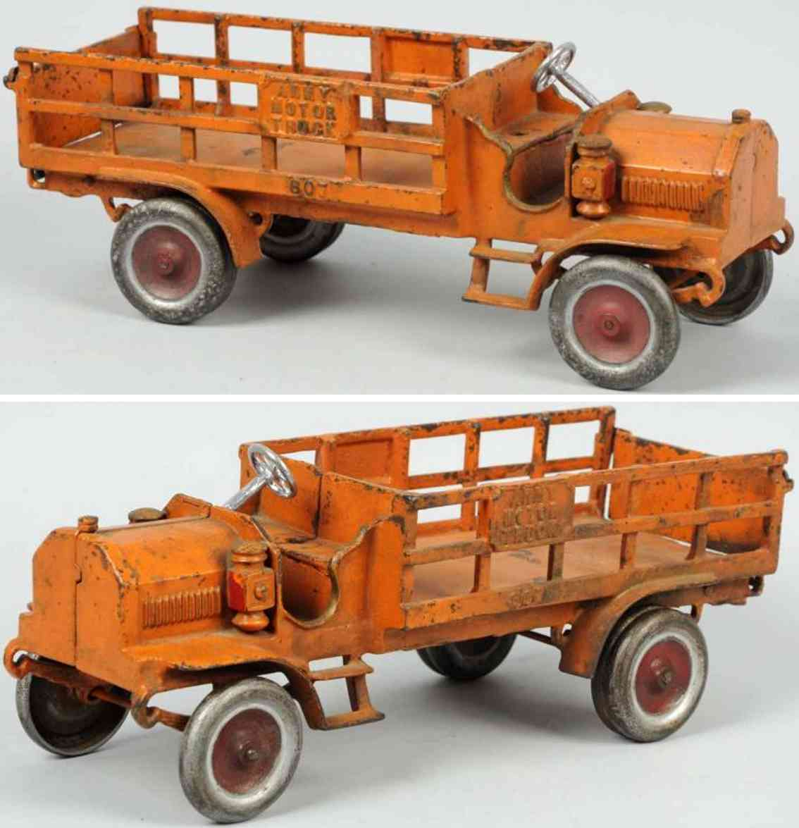 dent hardware co 807 cast iron army motor truck orange