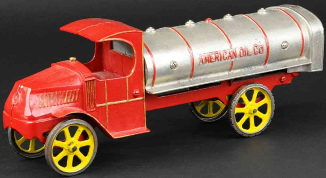 dent hardware co cast iron toy american oil co tank truck red nickel