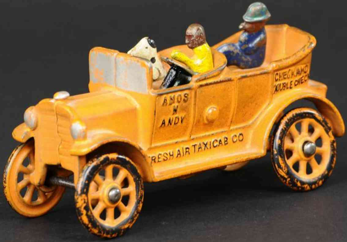 dent hardware co cast iron toy car amos 'n andy taxicab  orange