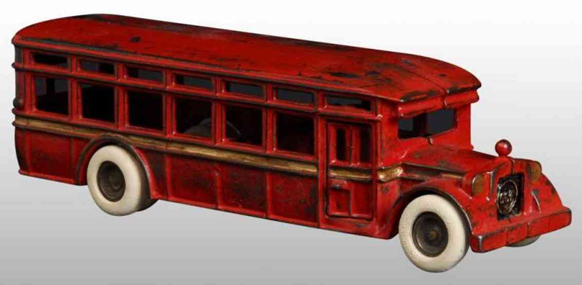 dent hardware co cast iron toy bus red