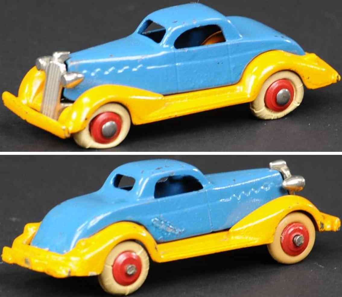 dent hardware co cast iron toy car lasalle coupe orange blue