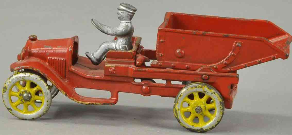 dent hardware co cast iron toy dump truck  red