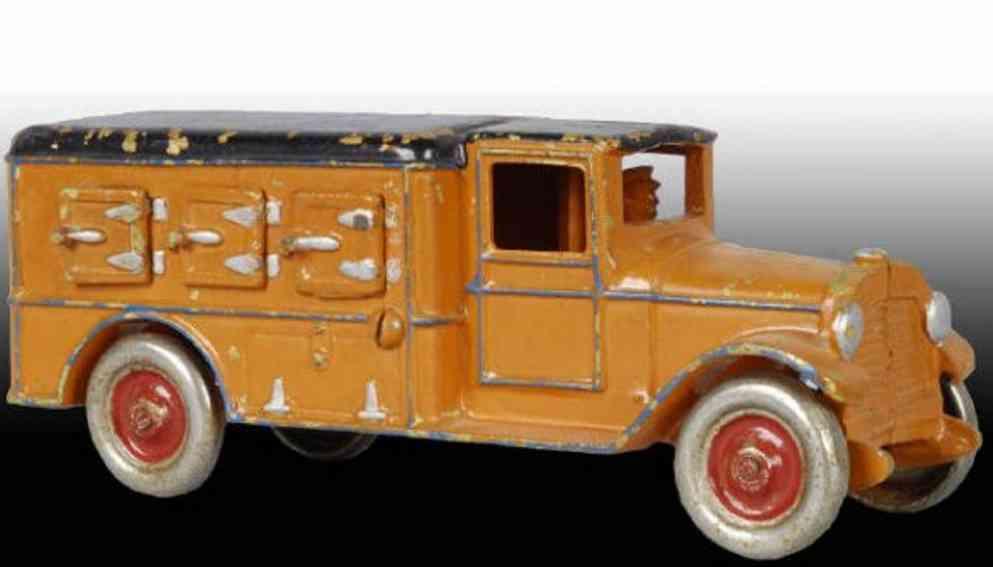 dent hardware co spielzeug gusseisen eis-lastwagen orange schwarz