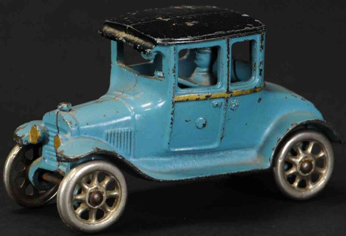dent hardware co cast iron toy car ford model t coupe blue black